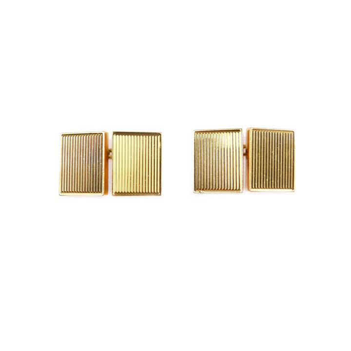 Pair of rectangular gold cufflinks