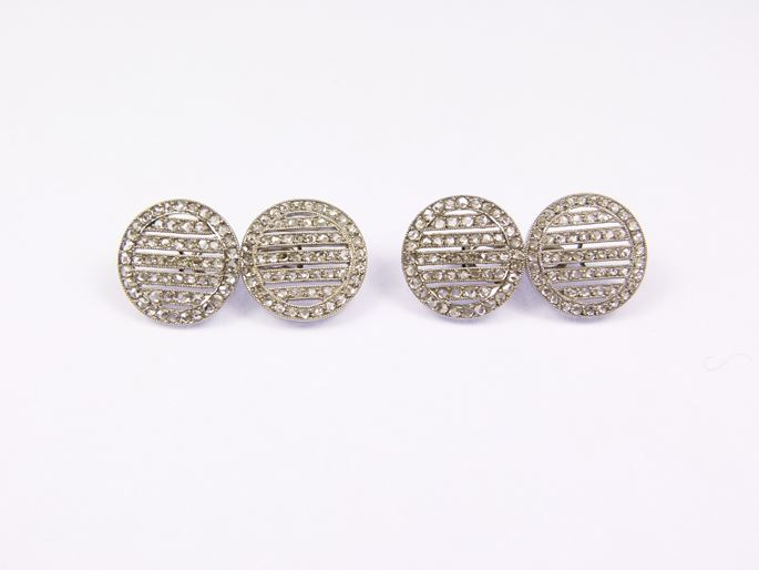 Pair of rose cut diamond and platinum round cufflinks | MasterArt