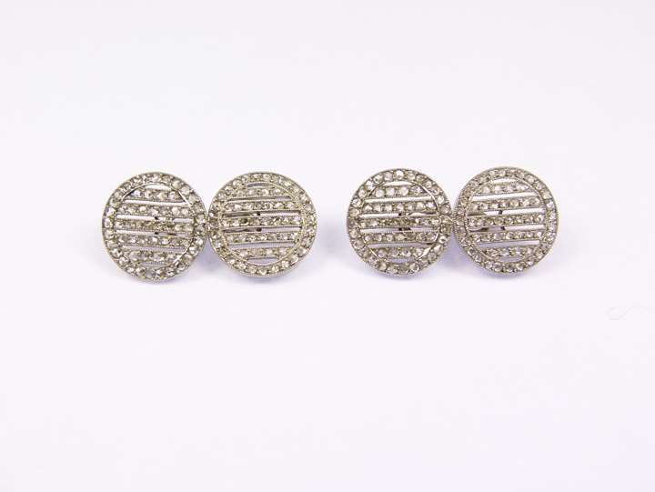 Pair of rose cut diamond and platinum round cufflinks
