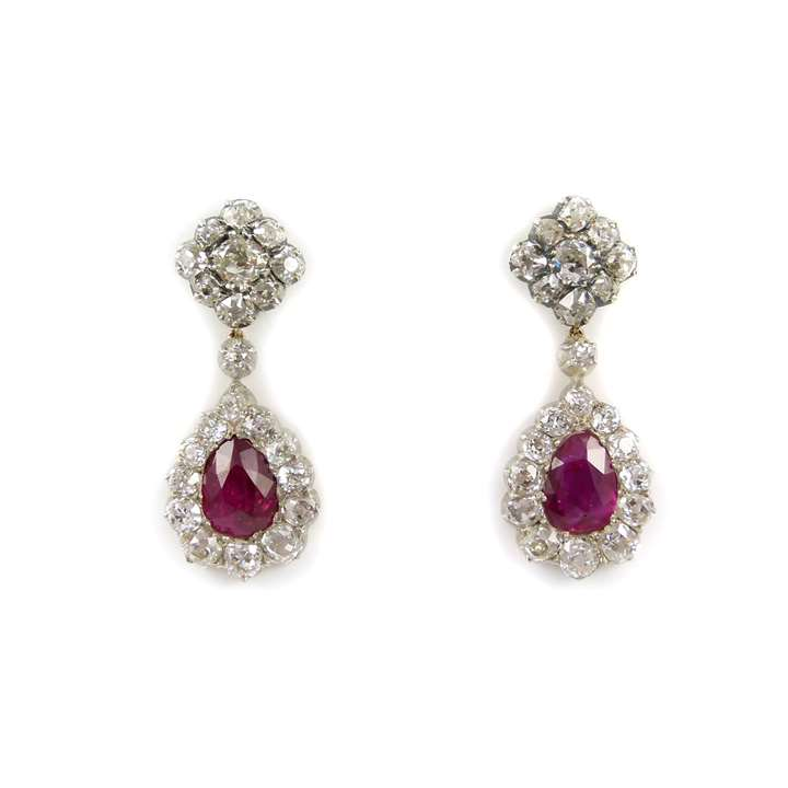 Pair of ruby drop and diamond drop cluster pendant earrings