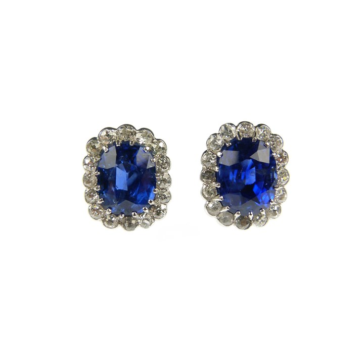 Pair of sapphire and diamond cluster earrings, the cushion cut sapphires of Burma origin