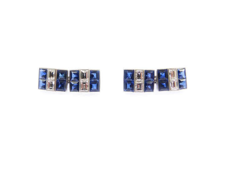 Pair of sapphire and diamond cufflinks by Cartier