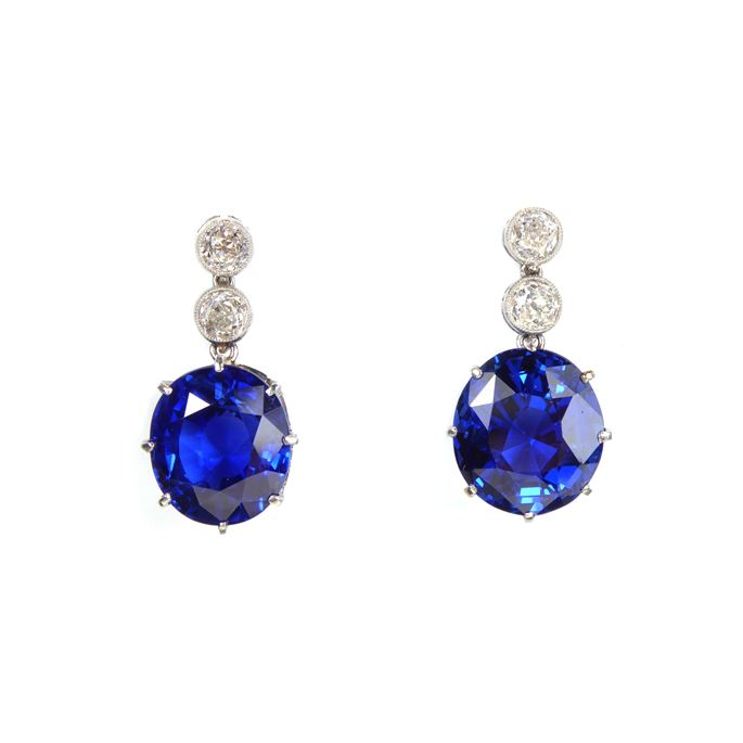 Pair of sapphire and diamond pendant earrings | MasterArt