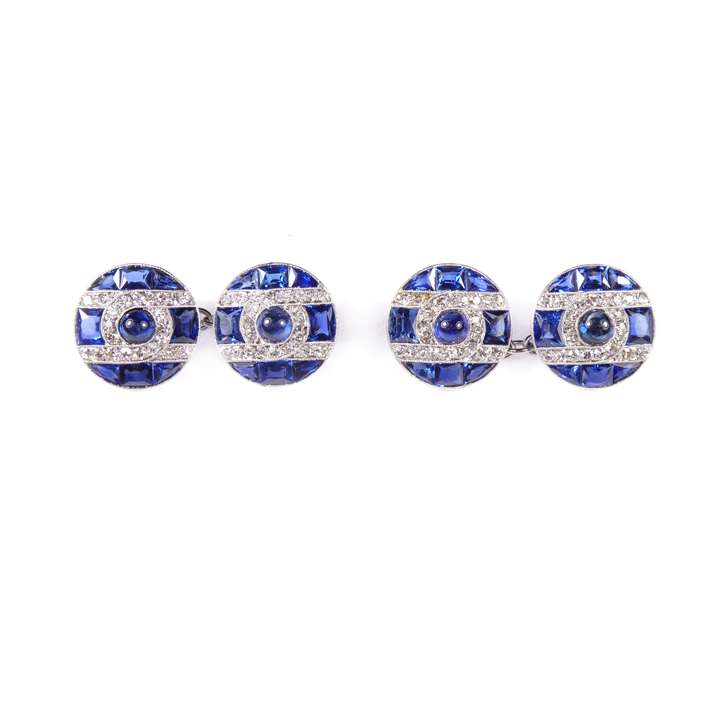 Pair of sapphire and diamond round panel cluster cufflinks