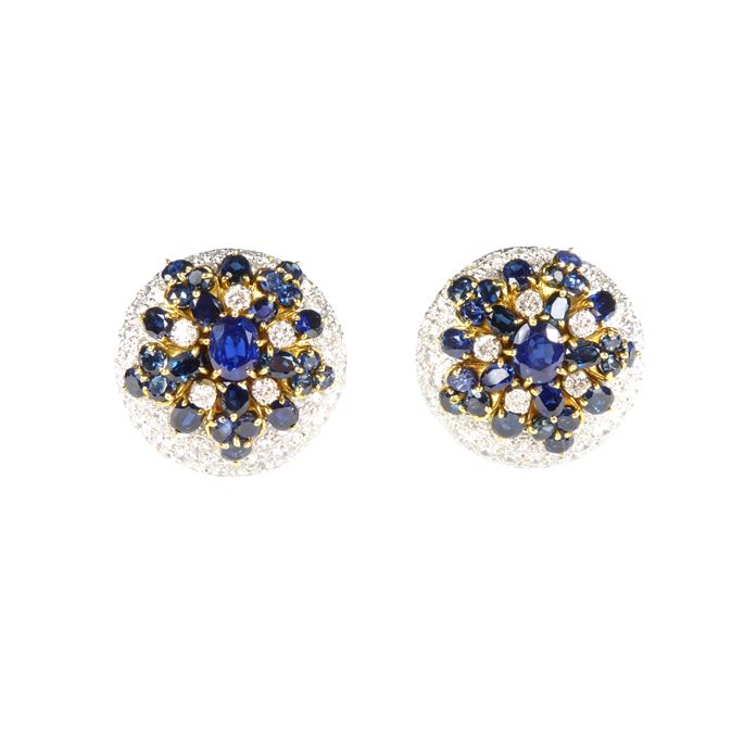 Pair of sapphire and diamond snowflake style cluster dome earrings | MasterArt