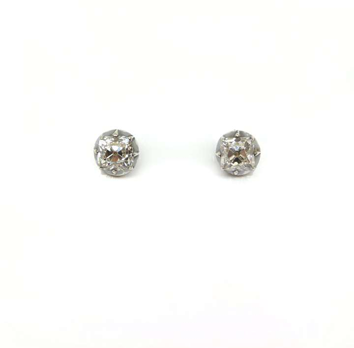 Pair of square-cushion diamond stud earrings