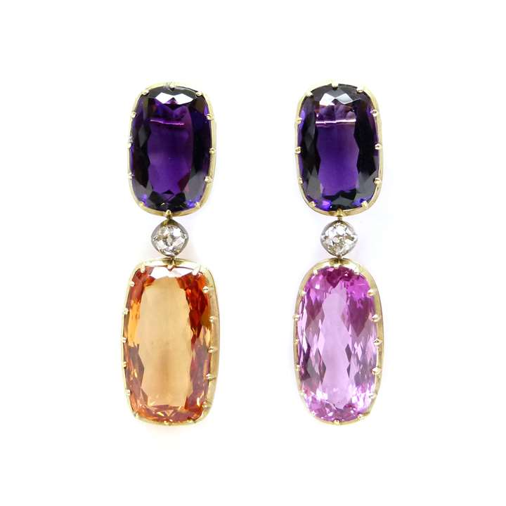 Pair of topaz, amethyst and diamond pendant earrings