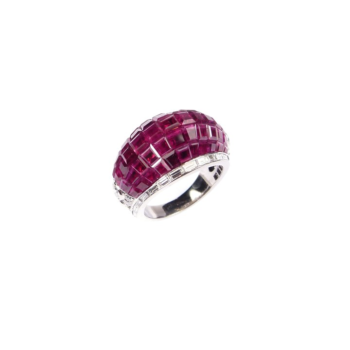 Pave set ruby and diamond bombe ring