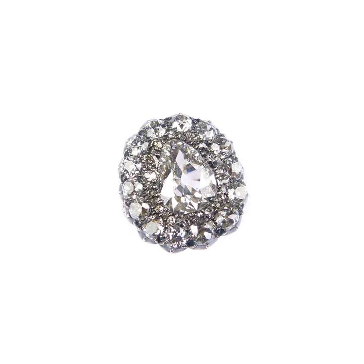 Pear shaped diamond cluster ring, centred by principal old pear shaped diamond