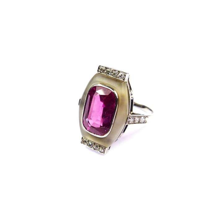 Pink sapphire, crystal and diamond oblong cluster ring