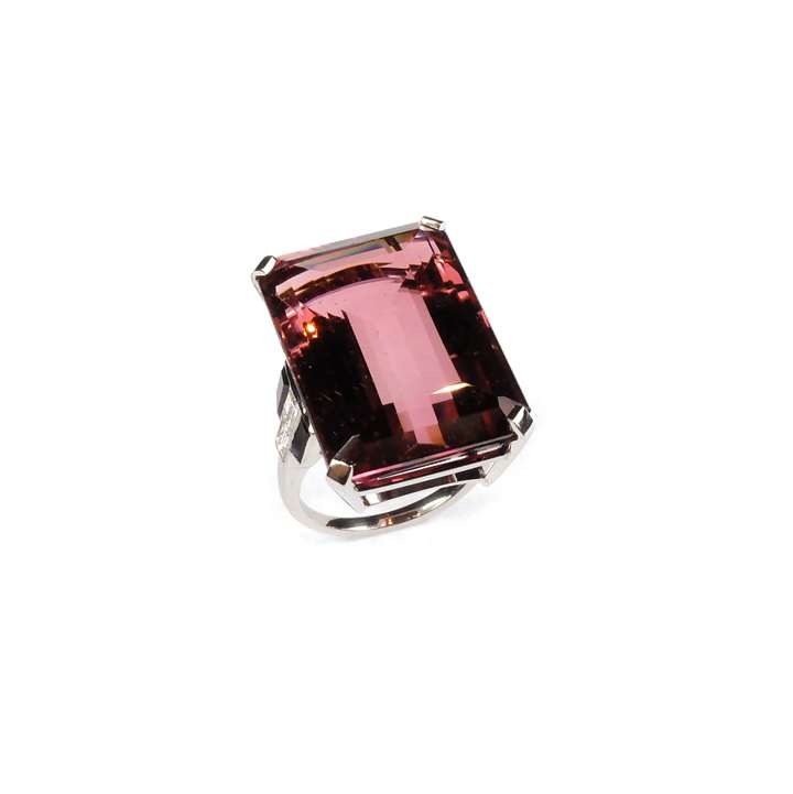 Pink tourmaline, diamond and onyx dress ring,