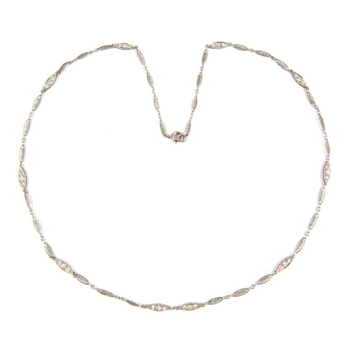 Platinum and diamond chain necklace with navette shaped links | MasterArt