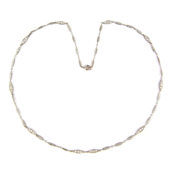 Platinum and diamond chain necklace with navette shaped links