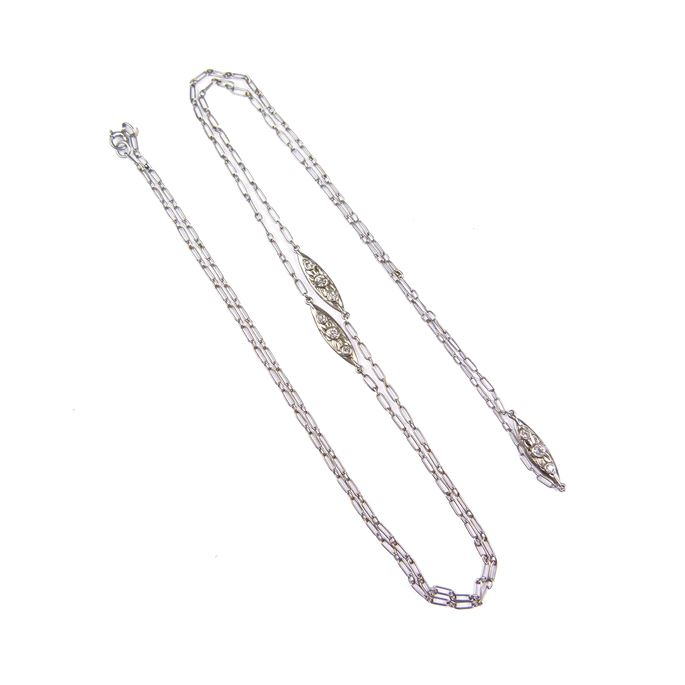 Platinum fetter link long chain necklace spaced by three diamond set cluster links | MasterArt