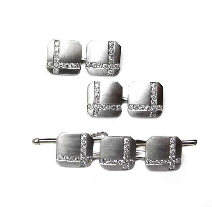 Platinum, white gold and diamond gentleman's dress set comprising a pair of cufflinks and three buttons