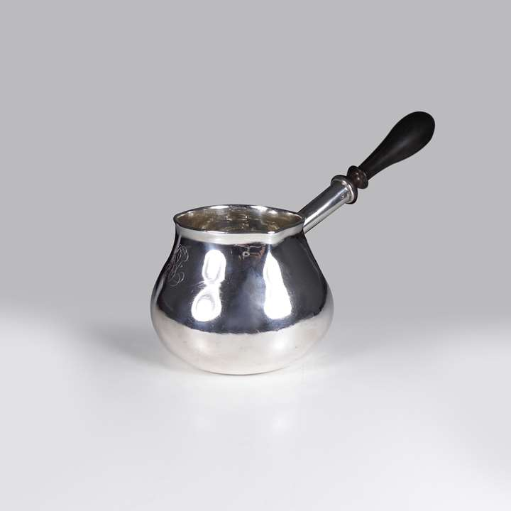 Queen Anne silver brandy pan by Robert Timbrell & Joseph Bell I