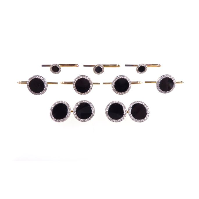 Cartier - RETURNED & credited, Awaiting export Jan 2020 re our TA. Onyx and diamond panel gentleman's dress set by Cartier, Paris, comprising a pair of cufflinks, four buttons and four associated studs, | MasterArt