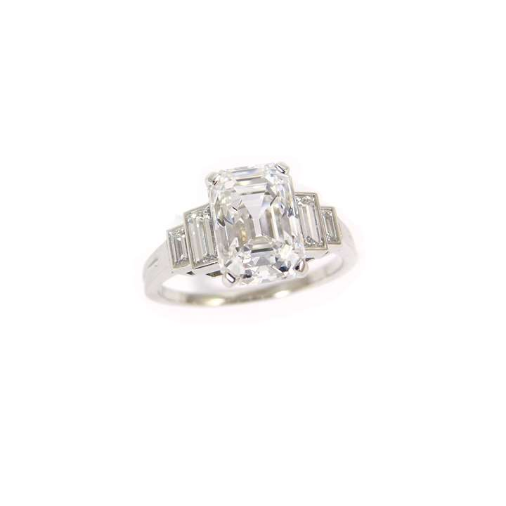 Rectangular trap cut diamond ring, claw set with a 2.28ct D IF stone