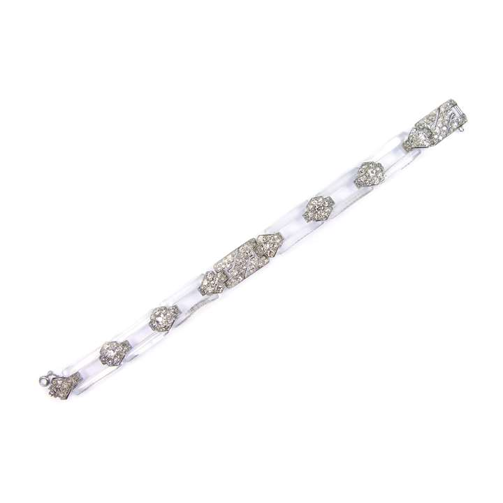 Rock crystal and diamond bracelet of geometric design