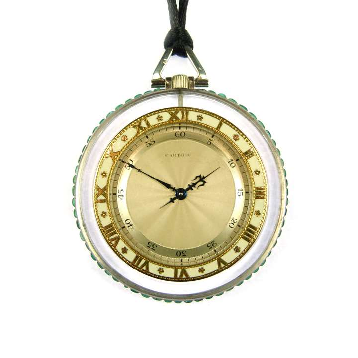 Rock crystal, emerald and enamel pocket watch
