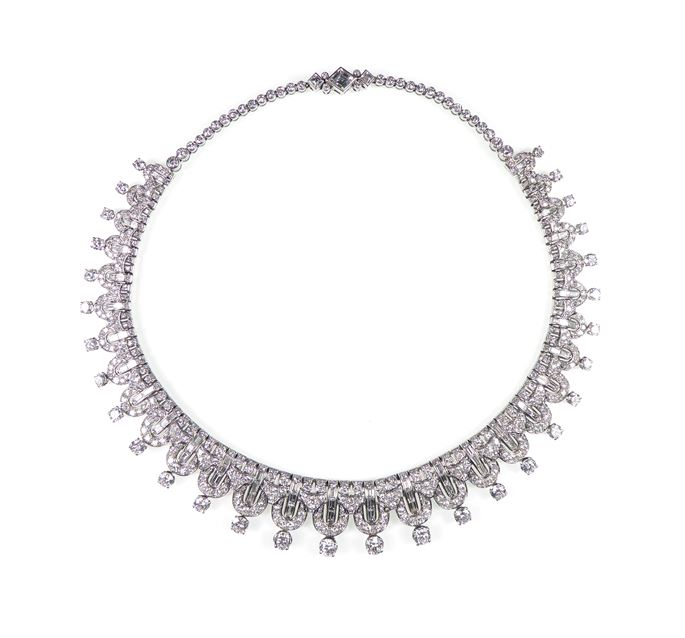 Round brilliant and baguette cut diamond geometric fringe necklace | MasterArt