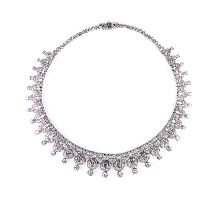 Round brilliant and baguette cut diamond geometric fringe necklace