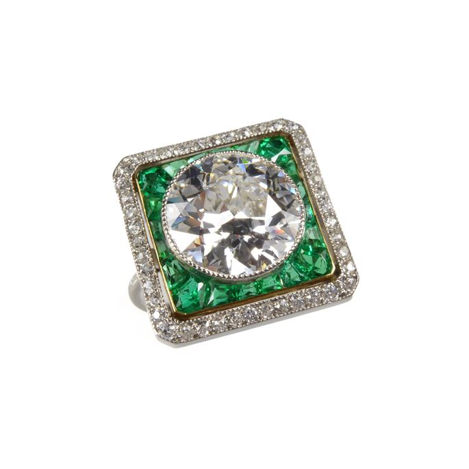 Round brilliant cut diamond, emerald and diamond cluster ring | MasterArt