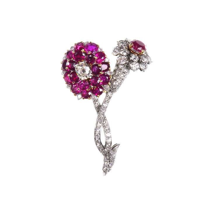 Ruby and diamond double flowerhead brooch