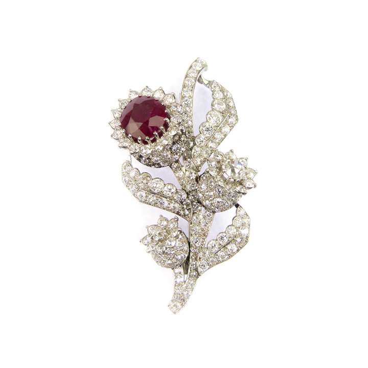 Ruby and diamond floral spray brooch