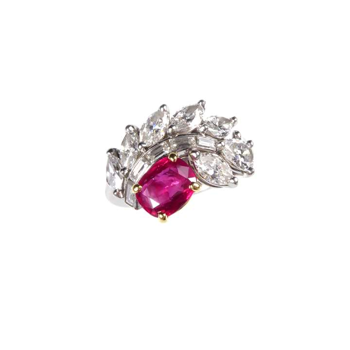 Ruby and diamond scroll cluster ring by Cartier