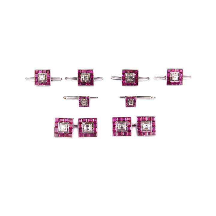 Ruby and diamond square panel gentleman's dress set, comprising a pair of cufflinks, four buttons and two studs