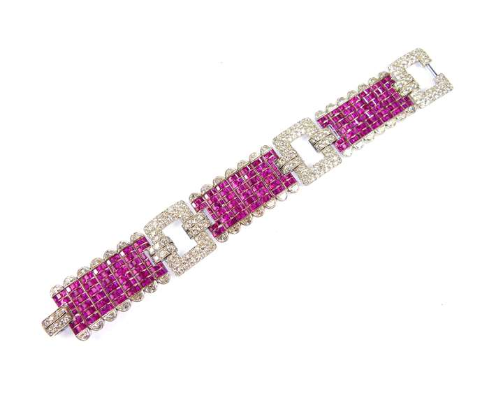 Ruby and diamond strap bracelet