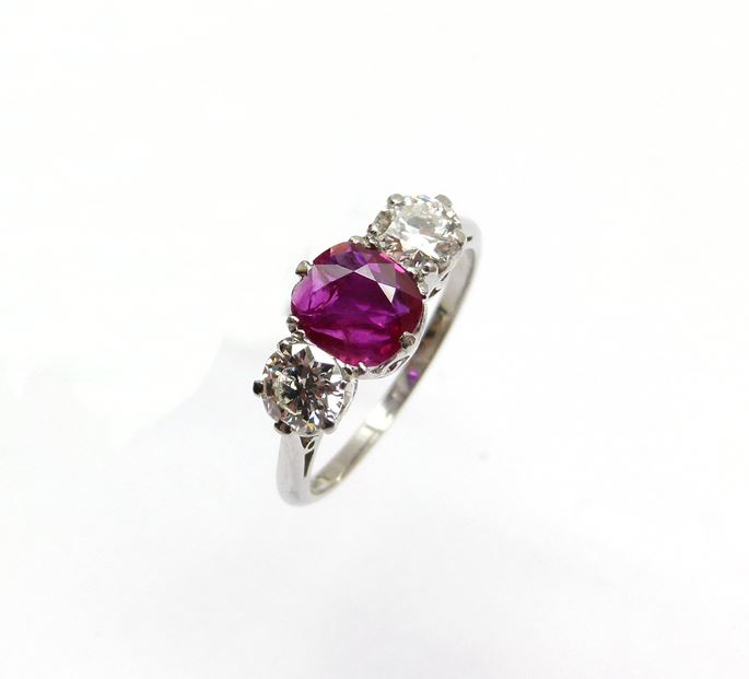 Ruby and diamond three stone ring centred by a 1.00ct cushion shaped Burma ruby | MasterArt