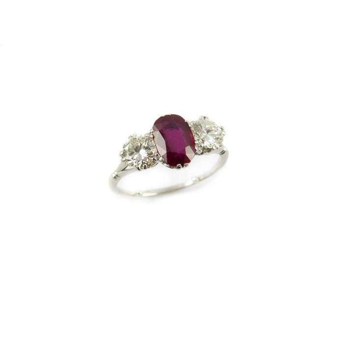 Ruby and diamond three stone ring, the oval facetted Burma ruby 1.78ct, | MasterArt