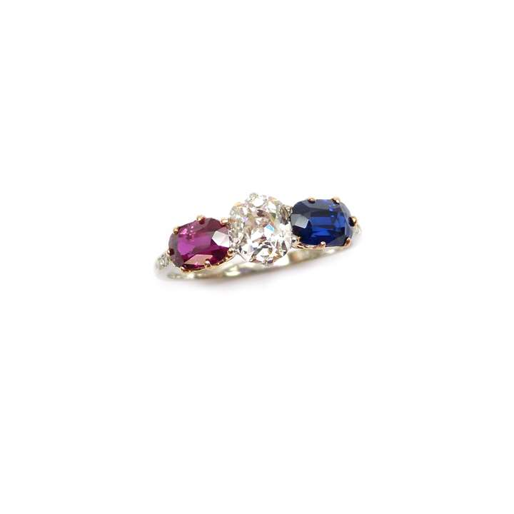 Ruby, diamond and sapphire three stone ring