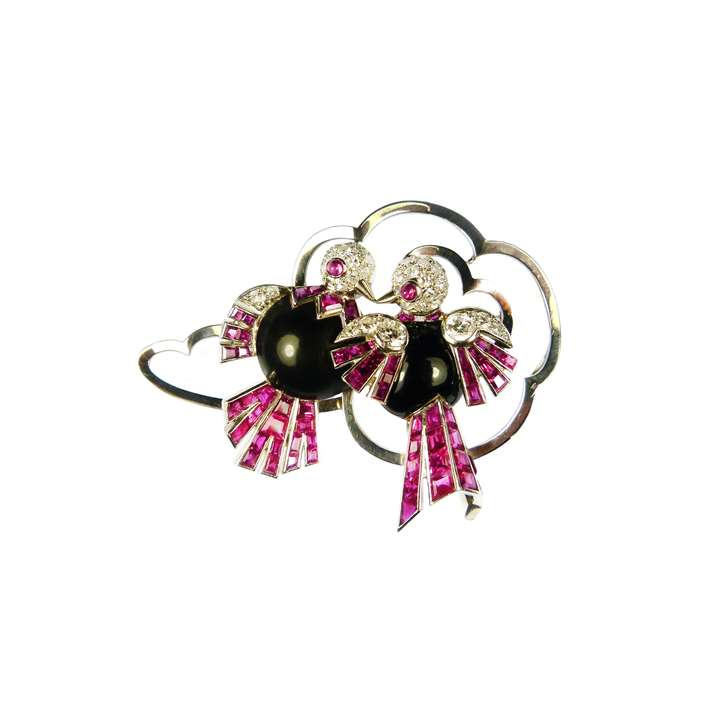 Ruby, diamond, black enamel and platinum stylised double bird brooch