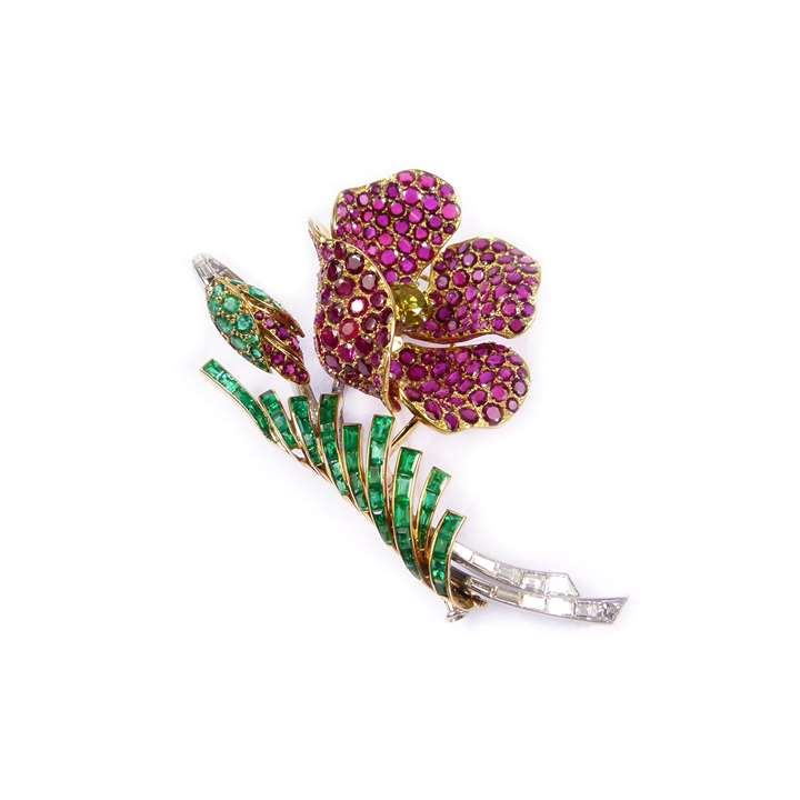 Ruby, emerald and diamond floral spray brooch