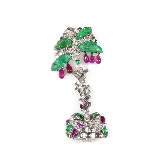 Ruby, emerald and diamond palm tree motif lapel watch | MasterArt