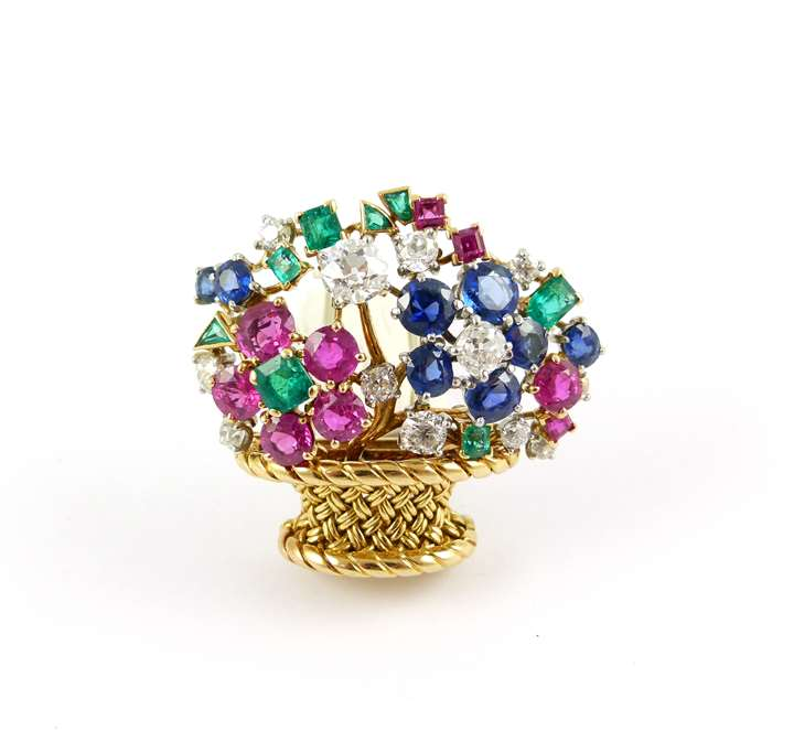 Ruby, emerald, sapphire and diamond basket of flowers brooch