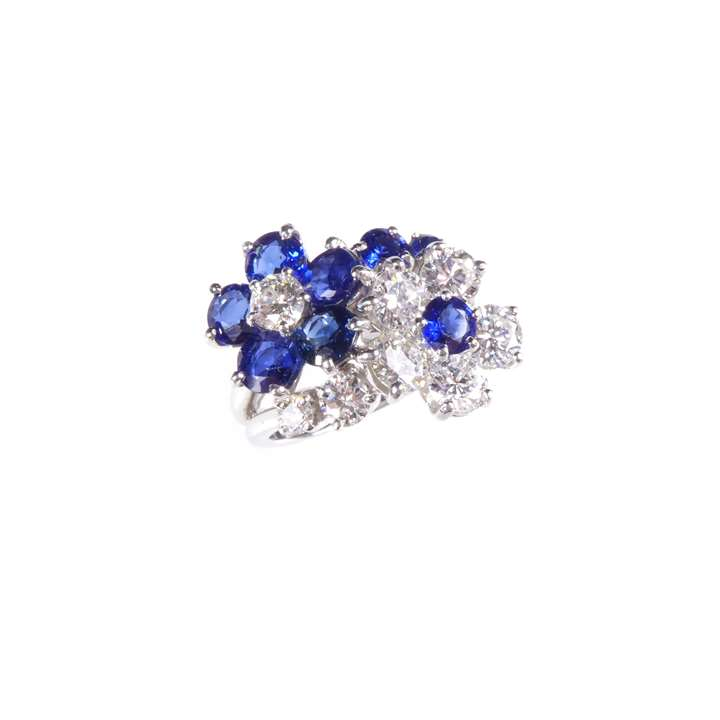 Sapphire and diamond double flowerhead cluster ring by Cartier