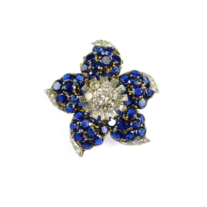 Sapphire and diamond flower clip brooch