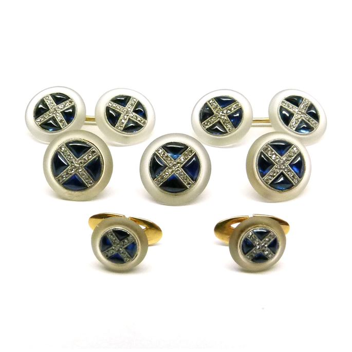 Set of cabochon sapphire, crystal and diamond cufflinks, three buttons and two shirt studs | MasterArt