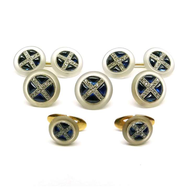 Set of cabochon sapphire, crystal and diamond cufflinks, three buttons and two shirt studs