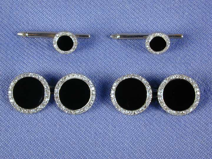 Set of diamond and onyx cufflinks and studs