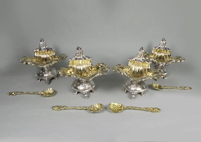 Set of four George III parcel git silver shell salts by John Craddock & William Reid, London 1818, together with four similar gilt shell spoons, London 1819, | MasterArt