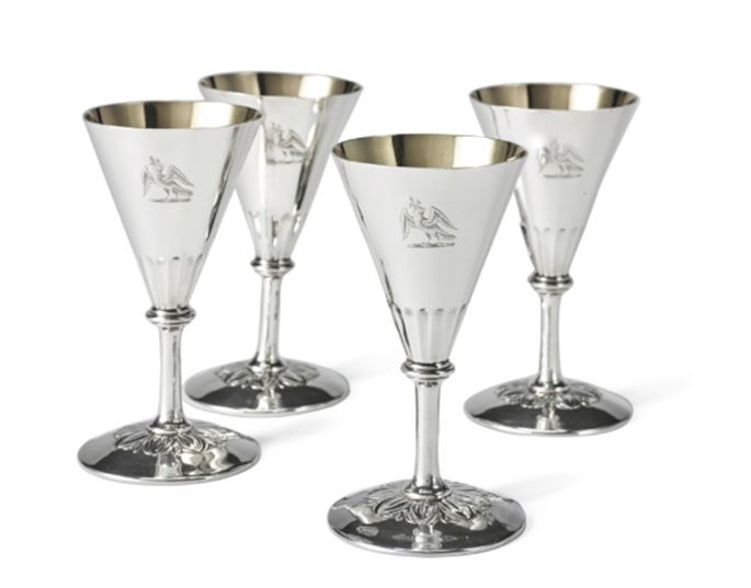 Benjamin Smith II - Set of four George IV silver goblets of conical form | MasterArt