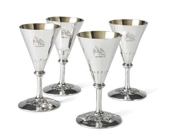 Set of four George IV silver goblets of conical form