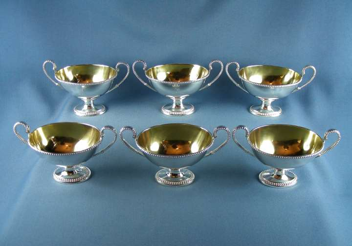 Set of six George III oval silver salts by Robert Hennell I