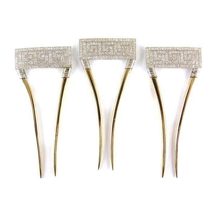 Set of three early 20th century diamond set hair combs with Greek key motif by Black, Starr & Frost
