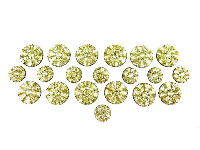 Set of twelve large and eight small 18th century Portuguese chrysolite cluster buttons | MasterArt